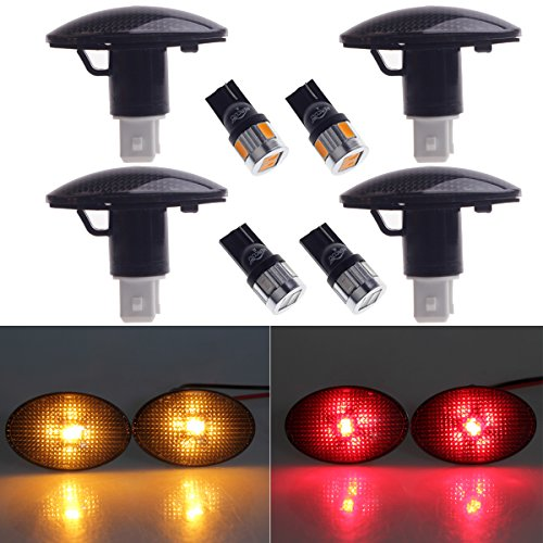 HERCOO Dually Bed Fender Side Marker Lights w/LED Bulbs Aftermarket Replacement Compatible with 1999-2010 Ford F350 F450 F550 (Full Kit, Smoke)