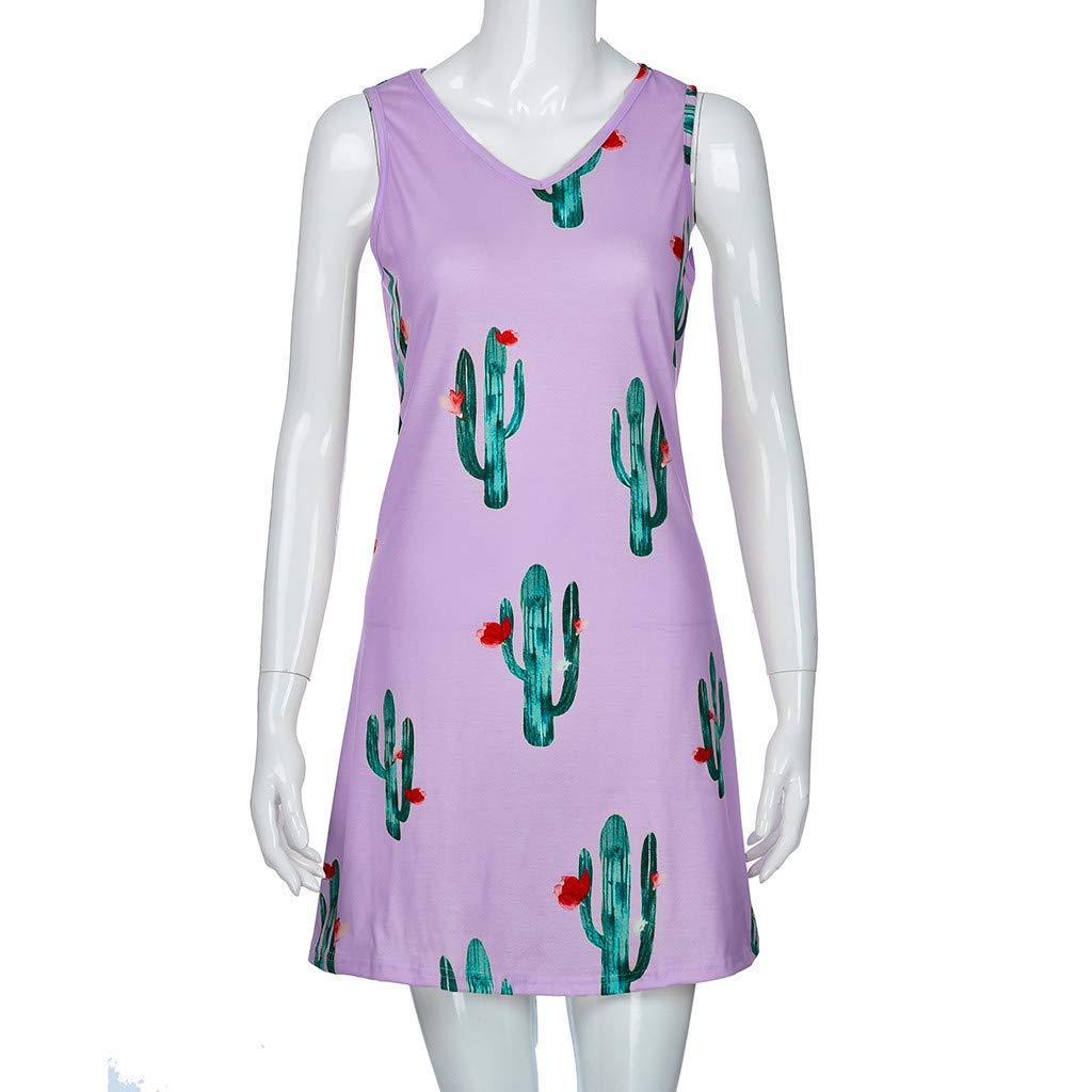 5168676a KESEELY Women Cactus Print Dress - Ladies Causal Sleeveless Mini O Neck  Summer T Shirt Dress at Amazon Women's Clothing store: