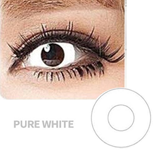 Women Multi-Color Colored Cute Charm and Attractive Fashion Contact Lenses Cosmetic Makeup Eye Shadow (Type 1, White) -