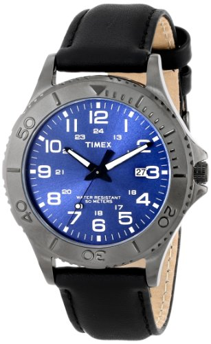 Timex Men's T2P392 Elevated Classics Gunmetal-Tone Dress Watch with Black Genuine Leather Band - Timex Gunmetal Watch