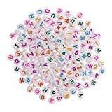 Flameer 200 Pieces Goodlucky 600 Pcs Letter Beads with 1 Pair of Tweezers 1 White and 1 Black Cord Black Alphabet Beads Mixed Color - Colored Letters