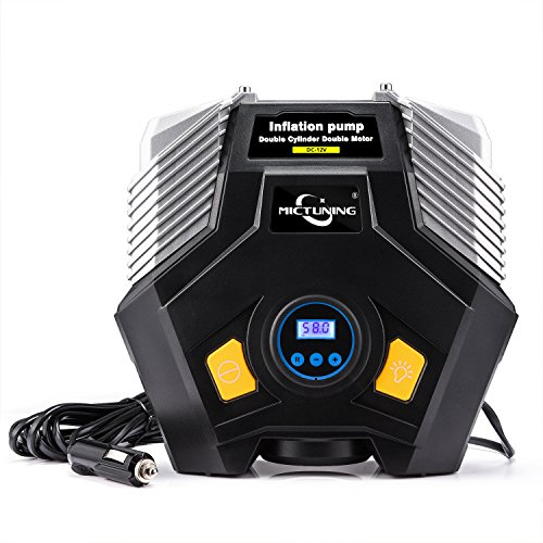 MICTUNING Car Air Compressor w/ Digital Gauge Double Cylinder Portable Auto Tire Inflator Pump 12V DC 150 PSI Led Light w/ Battery Clamps Extention Tube Smart Spare Tire