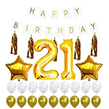 21st Birthday Decorations Package, 21 Balloon, Happy Birthday White Sign Banner, Gold and White Latex Ballon, 5 Gold Tassels, Great for 12th or 21 Birthday Party Supplies Girl or Boy