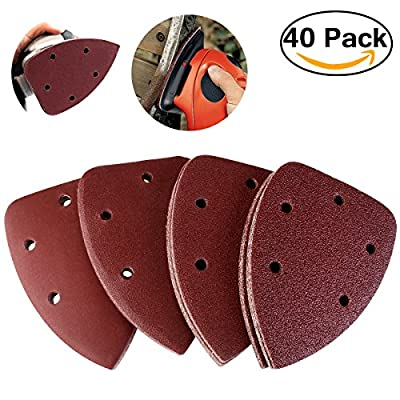 NUOLUX 40pcs Grit 14cm Mouse Sander Pads Sanding Sheets Discs Mixed 40 80 120 240 from NUOLUX