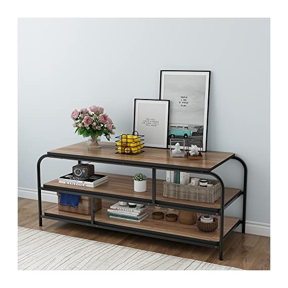 """LITTLE TREE 60"""" TV Stand, Entertainment Center with Shelves, Large 3-Tier Media Console Table for Living Room, Heavy Duty Metal Frame, Oak - ✅Heavy-duty TV Stand: 0.98"""" * 0.98"""" Heavy duty metal frame combine with 1.18"""" thick particle board makes the it super stable and sturdy, no serious shake or movement. ✅Hold up tvs to 58"""": with its open frame designs, this industrial console stand provide vast storage space. It accommodates flats panel tvs ups to 60"""" wide. 2 tier open shelves hold perfectly your AV components and gaming consoles. ✅Reliable Television Stands: with mechanical design and black powder coated metal frame ensure stability and durability.Make the max load capacity is 300 lbs. - tv-stands, living-room-furniture, living-room - 513gy42c2QL. SS570  -"""