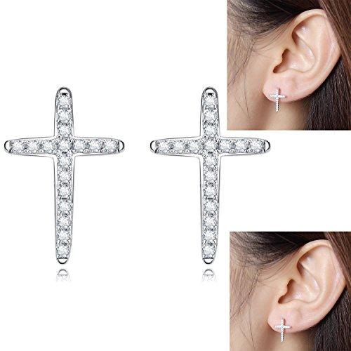 Cross Stud Earrings Sterling Silver Hypoallergenic Cubic Zirconia Cross Stud Earrings Traditional Cross Studs Earrings Women Cross Earrings for Men Simple Crucifix Earrings Silver Cross Studs Earrings -