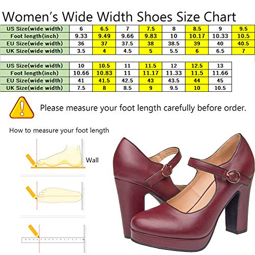 Red Heels Jean Pump Chunky Shoes Plus Mary Ankle Luoika Women Platform Wine Heel Size Width Wide Stacked Mid Block Strap qYYBZxH