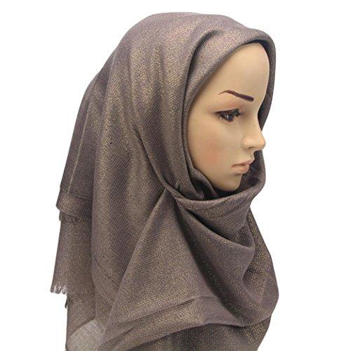 (Cleanrance! Turban Head Scarves for Women, Iuhan Bella Glittering Ramadan Shawl Scarf Plisse Chemo Hat Turban Head Scarves Pre-Tied Headwear Bandana Tichel (Coffee))