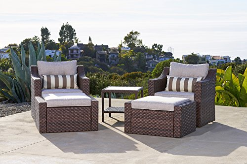 Furniture Chair Ottoman - Solaura Outdoor 5-Piece Lounge Chair & Ottoman Furniture Set All Weather Brown Wicker with Beige Waterproof Cushions & Sophisticated Glass Coffee Side Table | Patio, Backyard, Pool