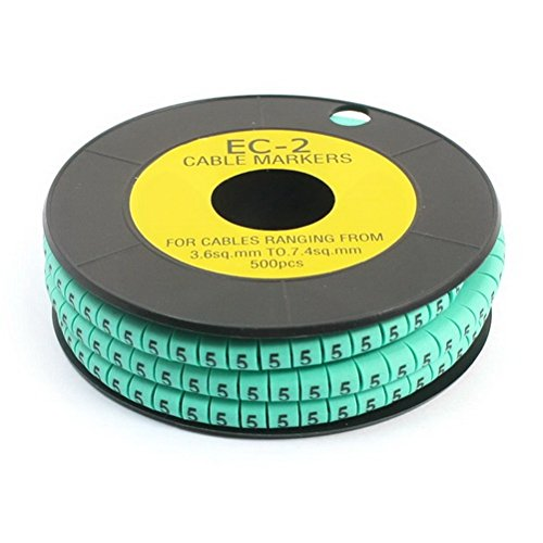 500 Pcs Green Self Locking PVC Number 5 3.6-7.4sq.mm Cable Markers by Ugtell