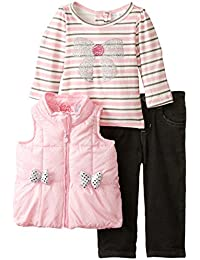 Baby Girls' 3 Piece Vest Bow Design Shirt and Pant Set