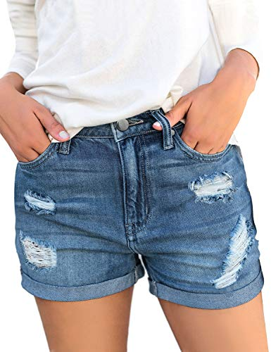 LookbookStore Women High Waist Ripped Folded Hem Distressed Denim Jean Shorts Pants Blue Size Large Distressed Denim Jean Shorts