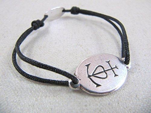 6e5a0b21f8a Bracelet cordon tréssé quot Croix de Camargue quot  16mm finition argent 925