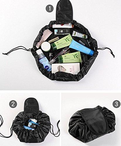 Borsa di cosmetici, alta capacità rotondo sacchetti di trucco con cordoncino nero RUNFON
