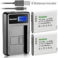 Kastar Battery (X2) & LCD Slim USB Charger for Olympus Li-90B Li-92B and Tough TG-Tracker, SH-1, SH-2, SP-100, SP-100 IHS, SP-100EE, TG-1 iHS, TG-2 iHS, TG-3, TG-4, SH-50 iHS, SH-60, XZ-2 iHS Camera