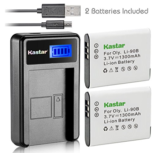 Kastar Battery (X2) & LCD Slim USB Charger for Olympus Li-90B Li-92B and Tough TG-Tracker, SH-1, SH-2, SP-100, SP-100 IHS, SP-100EE, TG-1 iHS, TG-2 iHS, TG-3, TG-4, SH-50 iHS, SH-60, XZ-2 iHS Camera