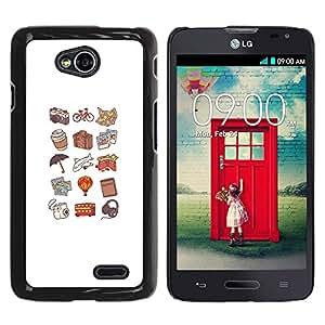 YOYOYO Smartphone Protección Defender Duro Negro Funda Imagen Diseño Carcasa Tapa Case Skin Cover Para LG Optimus L70 LS620 D325 MS323 - patrón de perro caliente de color melocotón del viaje del arte
