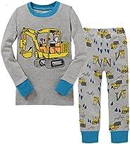 kidsmall Little Boys Long Sleeve Pajama Set 100% Cotton Sleepwear 2-7 Years