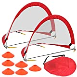 HomGarden Foldable Pop Up Soccer Goals, Set of 2 Portable Kids Toddler Soccer Nets for Backyard w/Cones & Carry Bag, Outdoor Pop-up Pick Up Game Goals (6′ Round) Review
