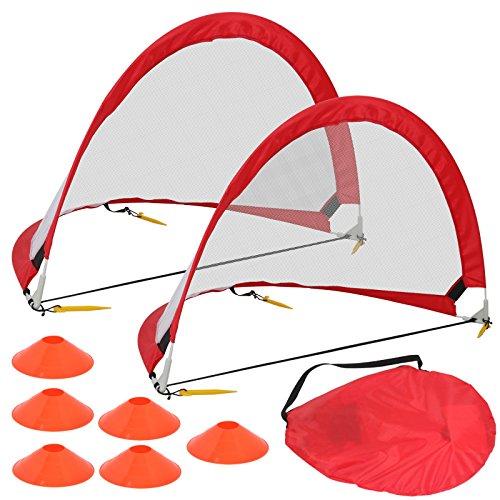 HomGarden Pop Up Soccer Goals Set of 2 Portable Soccer Target Nets for Backyard, Park or Training w/6 Cones & Carry Bag - Practice Soccer Goal Football Nets for Kids (6' Round)
