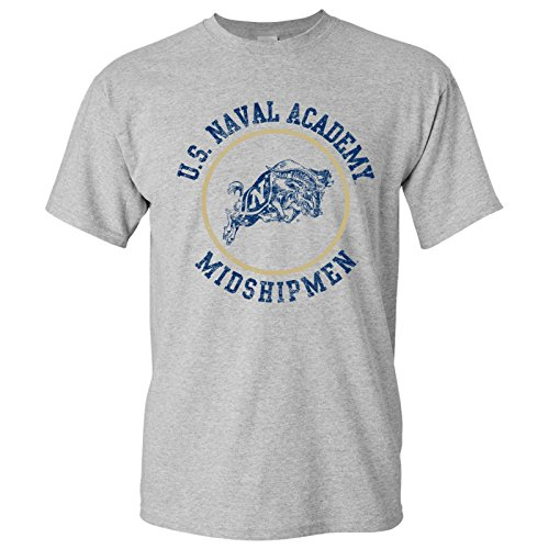 UGP Campus Apparel AS04 - US Naval Academy Midshipmen Distressed Circle Logo T-Shirt - Medium - Sport Grey