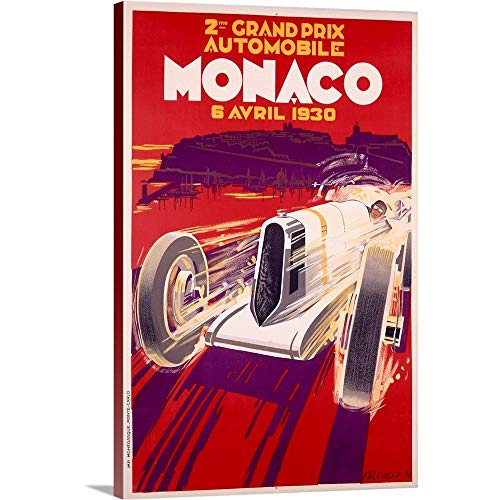 GREATBIGCANVAS Gallery-Wrapped Canvas Entitled Grand Prix, Monaco, 1930, Vintage Poster, by Robert Falcucci by 24