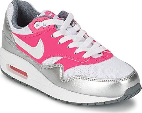 Nike Kids Air Max 1 (Gs) White/White/Pink Pow/Cool Grey Running Shoe 7 (Nike Air Max Lebron Pink)