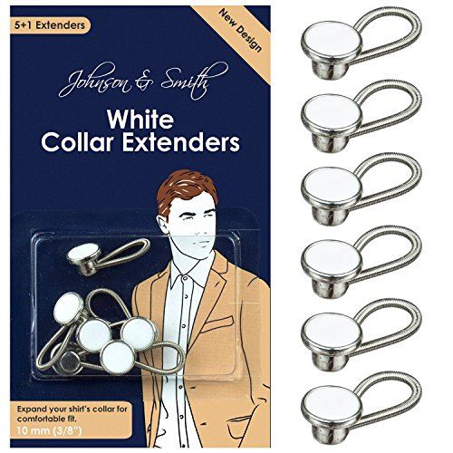 White Metal Collar Extenders by Johnson & Smith – Stretch Neck Extender for 1/2 Size Expansion of Men Dress Shirts, 5 +1 Pack, - Alloy Apparel Returns