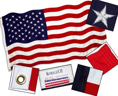 US Flag Store USA46SPVF American 4ft x 6ft Valley Forge Koralex II 2-Ply Sewn Polyester Flag, Red, White, Blue ()