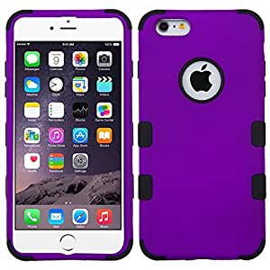 """The Smart Choice (Tm) Mybat Hybrid Tuff Case for Apple Iphone 6 Plus, Apple Iphone 6 5.5"""""""" Inch, Hybrid Phone Protector Cover Dual Layer Hybrid Defender Protection Case (Rubberized Grape/Black)"""