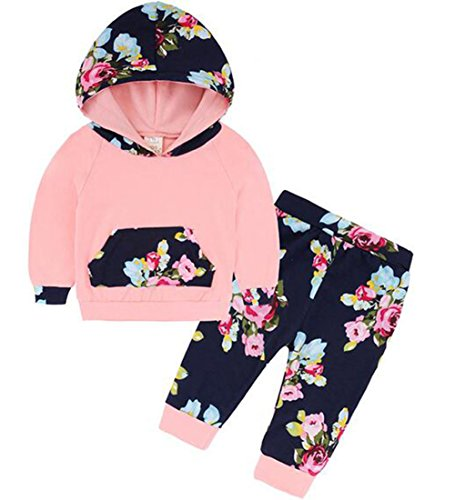 Natiny 0-24 Month Toddler Infant Baby Girl Long Sleeve Hoodie Tops Sweatsuit Pants Outfit Set(0-6 Month, Pink)