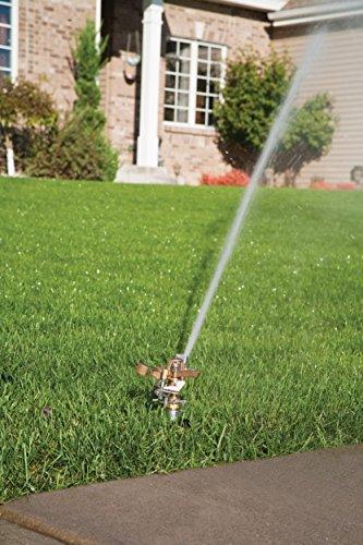 Rain Bird 25PJLSP Brass Impact Sprinkler on Large Spike, Adjustable 0° to 360° Pattern, 20' - 41' Spray Distance