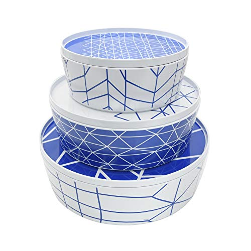 bzyoo BPA-Free Dishwasher Safe and Stack-able 100% Melamine Dinnerware Tray Serveware Set contain Salad Bowl & Dinner…