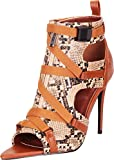 Cambridge Select Women's Open Toe Crisscross Strappy Cutout Stiletto Heel Ankle Bootie,9 B(M) US,Snake
