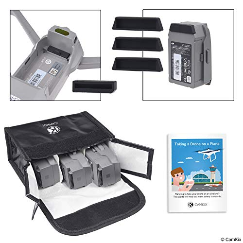 CamKix Travel Safety Pack Compatible with DJI Mavic 2 Zoom/Pro - for 3 Batteries - Includes: LiPo Safety Bag, 3X Battery Port Cover, 1x Charge Port Cover and Travel Instructions - Protection Kit