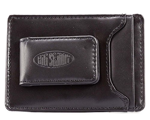 Big Skinny Men's Leather Magnetic Money Clip Slim Wallet, Holds Up to 12 Cards, Black