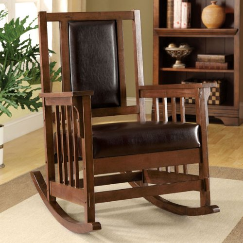 Brown Cherry Solid Wood Finish Rocking Chair