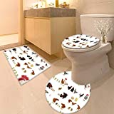 HuaWuhome 3 Piece Extended Bath mat Set Histories About Animals which Live on a Farm Widen