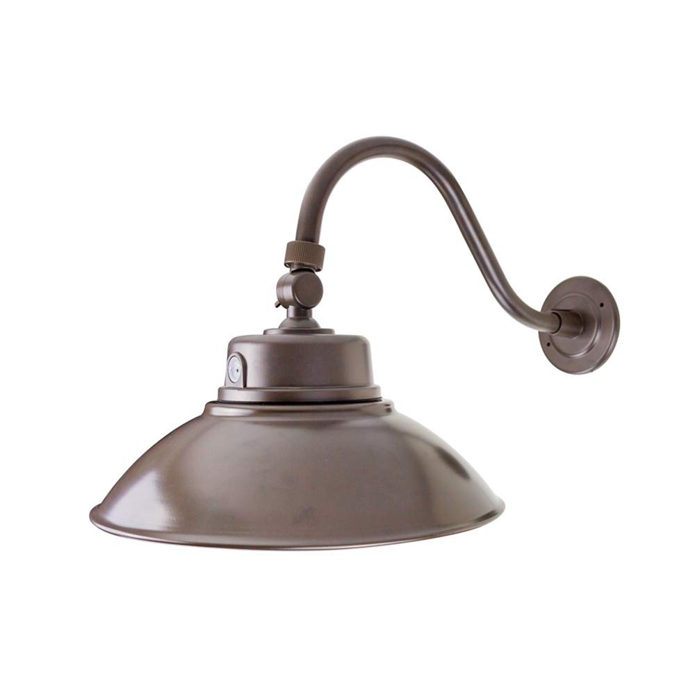 Bobcat Lighting 14 Inch Bronze LED Gooseneck Barn Light Fixture, Photocell Included, 42W, 5000K, 4200 Lumens, IP65. Energy Star Rated - ETL Listed - Sign Lighting