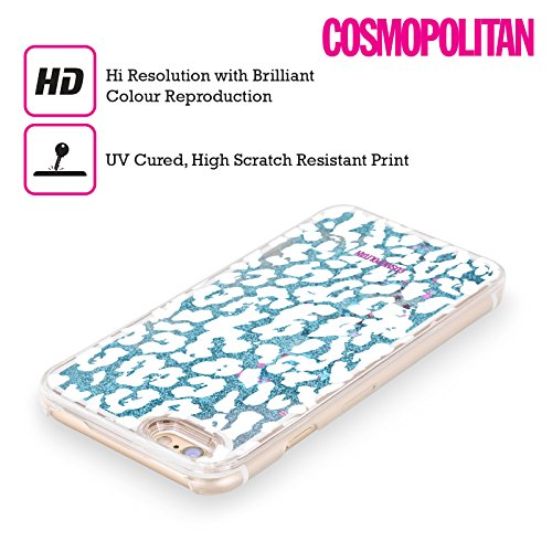 Official Cosmopolitan White Cheetah Animal Skin Patterns Sky Blue Liquid Glitter Case Cover for Apple iPhone 5c