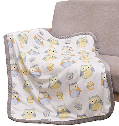 Sunshine Baby Blanket with Sherpa Fleece Light Warm Soft Fuzzy Owl Baby Plush Blankets Unisex for Girls Boys Newborn Kids,30 X 40