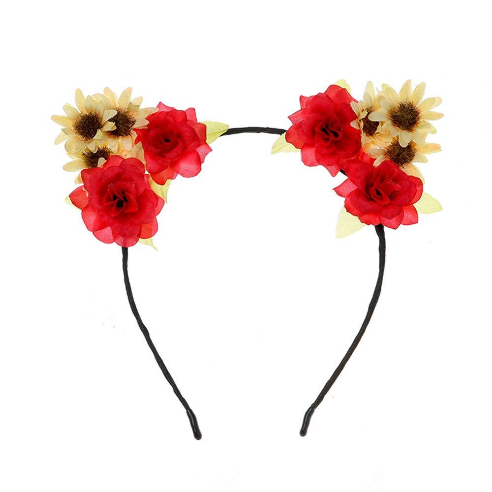 1b64d6df830bfc Neu Katzenohren Haarband Damen Stirnband, LEEDY Frauen Tanzparty Party  Geschenk Neuheit Blume Muster bedruckt Verdreht Stirnbänder Mädchen  Kopfbedeckung: ...