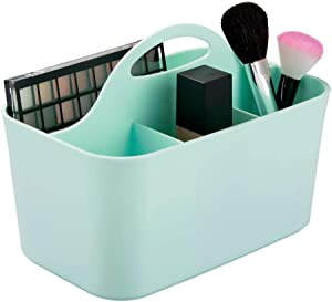 mDesign Plastic Portable Storage Organizer Caddy Tote - Divided Basket Bin, Handle for Bathroom, Dorm Room - Holds Hand Soap, Body Wash, Shampoo, Conditioner, Lotion - Small - Mint Green