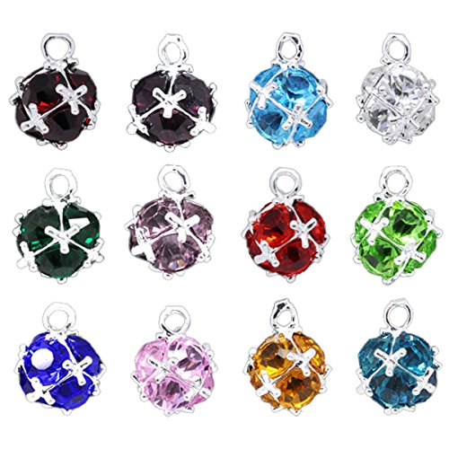 Housweety Silver Birthstone Pendants 14x10mm