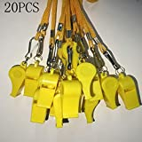 Kaqkiasiog 20 Pcs Yellow Plastic Loud Whistles with Lanyard for Referee Coaches Basketball Football Sports Training Game Event Lifeguard Survival Emergency Fun School Kids Tool Set Suppliers