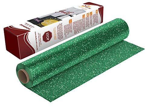 Firefly Craft Glitter Green Heat Transfer Vinyl | Green Glitter HTV Vinyl | Iron On Vinyl for Cricut and Silhouette | 5 Feet by 12.25 Roll | Heat Press Vinyl for Shirts