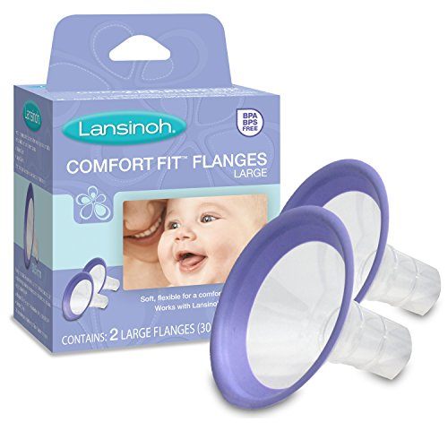 Lansinoh Comfort Fit Breast Pump Flanges, Large, 2 Count (30.5 mm each), for use with any Lansinoh Breastpump, BPS and BPA Free