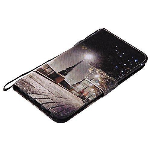 MAGQI For ONE Plus 5 Hülle PU-Leder und Brieftasche Bunte Muster Fall mit Magnetverschluss,Hybrid-Kickstand mit Stand Funktion Handgelenk Bügel Buch Art Geldbeutel Tasche - Turm London