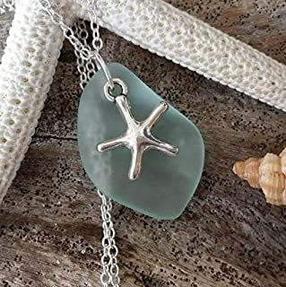 product image for Handmade in Hawaii, seafoam sea glass necklace, starfish charm, gift box,beach glass necklace,sea glass jewelry, gifts for her
