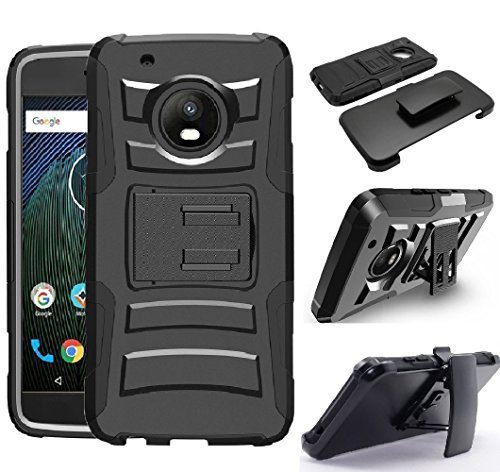 Motorola Moto G5 Plus / G5+ XT1687 / Moto G 5th Gen PLUS Armor Case Dual Layer Heavy Duty Full Body Shock Impact Protection Kickstand + Belt Clip Carrying Holster Work Case (Black) (Motorola Screen G)